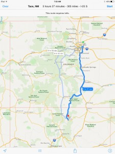Map from Denver to Taos